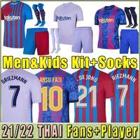 Version du joueur Barcelone Thaïlande Barce Soccer Jersey Barca 21 22 Camiseta de futbol Ansu Fati 2021 2022 Messi Giezmann F.de Jong Maillots de Hommes Kit Kit Kit Set Chaussettes