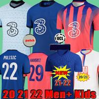 태국 네 번째 20 22 22Werner Havertz Chilwell Ziyech 축구 유니폼 2020 2021 2022 Pulisic Football Shirt Kante Mount 4th Men 키즈 세트 키트 탑스 플레이어 버전 팬