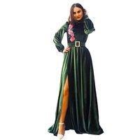 Elegant Dark green Mermaid Evening Dresses long sleeve high neck Custom Made Floor Length Prom Dress Robe de mariée