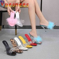 Voesnee Clear Transparent Summer Slippers Diamonds Sexy Fluffy Pubescence High Heels Ladies Stiletto Sandals Shoes 210712