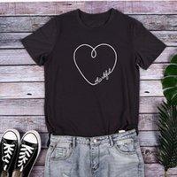 Women's T-Shirt Heart Print T Shirt Women Deepgray Tops Tee Summer Short Sleeve Top Lady Casual O-neck 2021 Loose Shirts