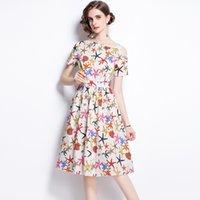 Moda Elegante Organismo Marinho Printing Dress Oclow Out Sexy Summer Expansion Vestidos 100% Poliéster Sliming Vestidos