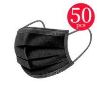 50 adet / grup Siyah Tek Kullanımlık Yüz Maskeleri 3-Katmanlı Koruma Hijyenik Açık Maske ile Earloop Ağız