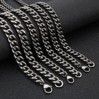 Chains 7 8 10MM Thick Punk Mens Vintage Curb Cuban Link Chain Necklaces 66CM Long Men Black 316L Stainless Steel Biker Necklace Jewelry