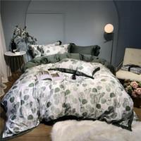 Tencel Silk Floral Hoja de la impresión Conjunto de ropa de cama 4pcs King Rey tamaño Duvet Funda de edredón Partida Partida Cama Ropa de Cama Conjuntos