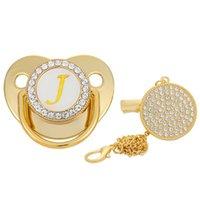 Pacificateurs # Nom Principal Lettre Baby Pacificatif Baby et Clips BPA Silicone gratuit Silicone Nipple Gold Bling Né Chaîne Dummy Soisher Clip Chaîne