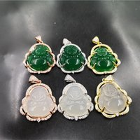 Laughing Buddha Jade Pendant Necklace 925 Silver Plated Inla...