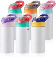 Blanco de sublimación Niños Vacador Bebé Bebé Bebé Sippy Tazas 12 Oz Botella de agua blanca con paja y tapa portátil 5 Tapa de color