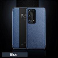 Mobiltelefonfälle Flip Cover Smart Touch View Ledertasche für Huawei P30 P20 Mate 10 20 x 30 Pro Mode Schutz