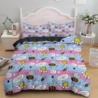 Bedding Sets Cute Honeybee Single Double King Queen Set Soft Material Duvet Comforter Quilt Covers With Pillowcase 2 3PCS Bedclothes