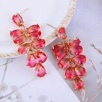 Dangle & Chandelier CINKILE 6 Colors Cubic Zirconia Long Leaves Water Drop Earrings For Women Luxury Wedding Party Copper Braidle Gift