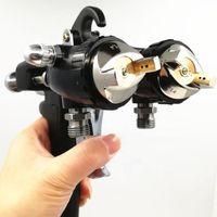 Pistolas de pulverizador profissional de dois componentes Pintura do cromo pintura dual cabeça Pulverizador pneumático em vendas bico duplo