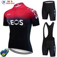 INEOS جرينادير الرجال ركوب الدراجات جيرسي ملابس قصيرة الأكمام دراجة مع مريلة السراويل ciclismo
