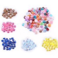 2/3/4/6/6/8/10/12/14 MM Acrílico ABS Beads Pearl Imitación Media redondo Flatback AB Colores Cuenta para joyería Hacer accesorios de bricolaje 805 T2