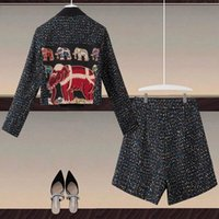 Women's Tracksuits DIDABOLE High Quality Designer Autumn Set Sequin Embroidered Jacket Tops Casual Shorts Vintage Fashion 2 Piece Suit