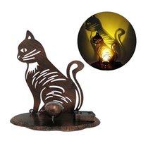 Decoraciones de jardín Adornos de césped Arte de hierro Arte Luces de proyección solar Lámpara LED Amplia Cat Rooster Backyard Hallow Hollow