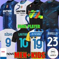 Jerseys de futebol Third Dzeko Milão Calhanoglu Barella Lautaro Eriksen Alexis 21 2 22 Perisic Nainggolan Camisas de futebol 2021 2022 Homens Kit Kit Fans Versão do Jogador
