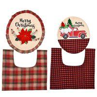 Gräftet Santa Toilette Sitzbezug Kit Lustige Weihnachtsdekorationen Badezimmerwäsche Nette Festival Chritmas für Home Covers