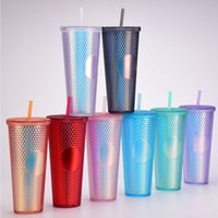 Studded Tumblers Plastic Straw Mugs Large Capacity Creative 710ML Durian Coffee Cup Cold Tumbler Portable Diamond Cups Iridescent Bling 24oz DHL Free Freight