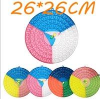 26 * 26 cm Big Round Fidget Tchoche avec 2 découpes silicone arc-en-ciel Stress Soft Stress Strong Sensory Jouets Fête HWA7417