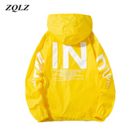 ZQLZ mulheres windbreaker jaqueta moda carta de impressão com capuz Basic s plus size 5xl casacos feminino