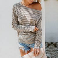 MeiHuiDa New Style Fashion Women's Long Sleeve Stripped T-Shirt Ladies Casual Loose One Shoulder Top