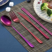 Korean sets aço inoxidável de aço inoxidável faca faca garfo colher chopsticks conjunto de talheres coloridos para acessórios de cozinha de casamento ZWL253