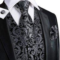 남자 조끼 하이 넥타이 럭셔리 블랙 펜싱 실크 넥타이 포켓 스퀘어 커프스 단추 세트 클래식 파티 결혼식 양복 조끼