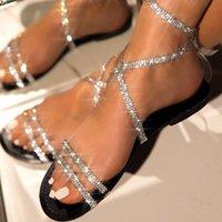Sandals 2021 Women's Shoes Fashion Casual Shiny Rhinestone PU Elegant Party Dress Sexy Summer Women Low Heels