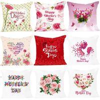 Felice madre lettera lettera cuscino cuscino rosa fiore stampato cuscino per divano casa decorativo cuscinetto copertura NHB6077