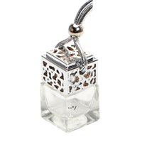 Cube Hollow Car Perfume Bottle Rearview Ornament Hanging Air Freshener For Essential Oils Diffuser Fragrance Empty Glass Bottle NHF10942