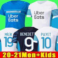 Marseille Camisa de futebol Olympique De 22 21 OM 2022 2021 maillot pé PAYET THAUVIN BENEDETTO maillots camisa de futebol masculino + infantil kit terceiro