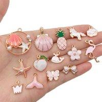 Encantos 10-30 pcs rosa esmalte estilo misturado liga pingentes acessórios para jóias fazendo bracelete DIY pulseira Neacklace achados
