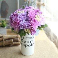 실크 꽃 결혼식 꽃다발 베리 Dahlias 인공 꽃 가을 생생한 가짜 잎 신부 부케 장식 장식 화환