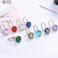 Hoop & Huggie MUYE Real 925 Sterling Silver Round Zircon Crystal Earrings Ear Buckle For Women's OL Fashion Jewelry Party Gift