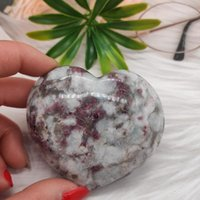1pcs Natural Plum Blossom Pink Tourmaline Crystal Heart Polished Gifts Decoration Stones And Minerals Decorative Objects & Figurines