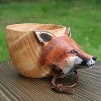 Tassen Hand Geschnitzte Holz Becher Kreative Tiere Kopf Holz Cup für Outdoor Reisen Wandern Camping Trinkwasserglas