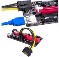 Black Pcie Riser Ver 009s Card PCI E 1X 4x 8x 16x Extender USB 3.0 Cable SATA to 6Pin Molex Adapter For BTC Mining