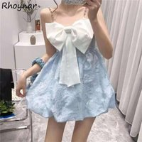 Casual Dresses Sleeveless Women Sweet Girls Bow Design Kawaii College Dating Cute Korean Fashion Ball Gown Mini Summer Vestidos Clothes
