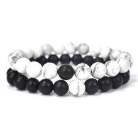 New Natural terno pulseira 8mm tigre pedra branco pinho ágata cordas elásticas grânulos moda jóias