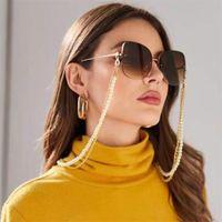 Cadena de anteojos Dos capas de plástico blanco Cadena de metal con cuentas de oro Color chapado en color de silicona Sunglass Accesorio Souvenir Shop Good 866 R2