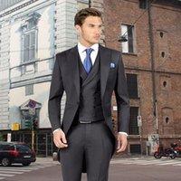 Men's Suits & Blazers Custom Made Tailcoat Men Suit Set Slim (Jacket+Pants+Vest) Groomsmen Tuxedo Groom Wedding Regular Costume Homme