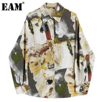 [EAM] Mujeres de tamaño grande Blusa impresa Blusa de solapa de manga larga de la solapa de la camisa de la marea de la moda del otoño 2021 1dd0624 Blusas de las mujeres Shir