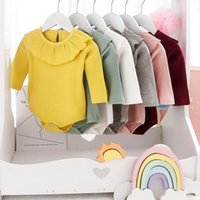Rompers Korean Baby Long Sleeve Knitting Bodysuits Solid Ruffles Cute Jumpsuits For Kids Children Boys Girls Autumn Todddler Clothes