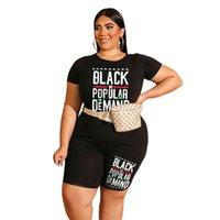 Más Big XL-4XL Pantalones cortos de verano para mujer Diseñadores T Shirt Letra Impresión Tops y pantalones cortos Biker Trajes de dos piezas Color Matching Tacksuit Pijama Homewear G66EDOH