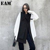 Женские блузки Рубашки [EAM] Женщины черный белый повязка большой размер блузка зарезанный воротник с длинным рукавом свободная рубашка мода весна осень 2021 1