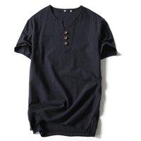 Homens camisetas Estilo chinês camiseta verão plus tamanho solto algodão manga curta v pescoço para moda poloshirt shir m6pw