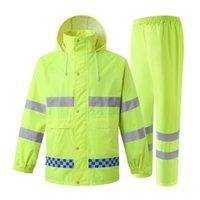 Raincoats Reflective Sport Raincoat Men Waterproof Suit Motorcycle Rain Jacket Poncho M-XXXL Coat And Pants