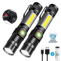 Super helle T6-LED-Taschenlampe USB wiederaufladbare wasserdichte COB-Fackel-Zoom-Campinglampe tragbare 18650 Laterne mit Schwanzmagnet
