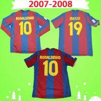 جيرسي برشلونة # 10 رونالدينيو 2007 2008 قميص كرة القدم الرجعية # 14 هنري هوم كلاسيك قميص كرة القدم الكلاسيكي # 19 ميسي تشافي ديكو Camiseta de futbol 07 08 A.iniesta توري يايا بويان